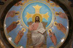 Christ on the dome of St. Mina Monastery, aka Abu Mena Manastery at Alexandria, Egypt