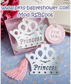 Recuerdos para Baby Shower - Separadores Tiara Princesa Rosa - Disponible en www.pkts-babyshower.com