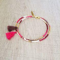 Double Multicolor Tassel Bracelet // Pink, Taupe, Chocolate & Gold // Cute Multicolor Friendship Bracelet