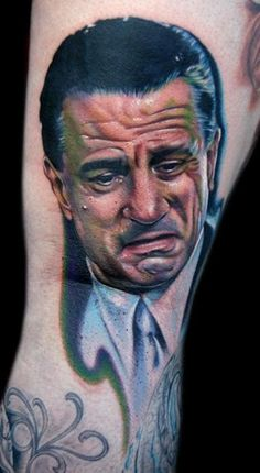 Talk about photorealistic. and such a hard angle too.    http://poundedink.com/top-tattoo-artists/wp-content/uploads/2011/04/Cecil-Porter-Robert-DeNiro-Portrait-Tattoo.jpg