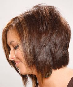 Medium Straight Formal Hairstyle - Light Chocolate Brunette Hair Color - Side on View Chocolate Brunette Hair, Medium Brunette Hair, Light Brunette, Short Bob Hairstyles, Hairstyles Haircuts, Asymmetrical Hairstyles, Medium Hair Styles, Short Hair Styles, Shoulder Haircut