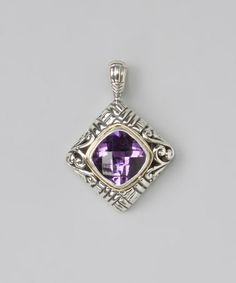 Loving this Sterling Silver & Amethyst Geometric Pendant on #zulily! #zulilyfinds