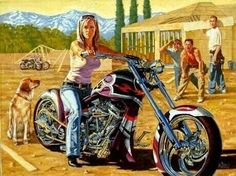 """""""Indian"""" - Limited Editions - All Artwork - Robert Tate - Motorcycle Art Motorcycle Art, Bike Art, Harley Bikes, Harley Davidson Motorcycles, Lady Biker, Biker Girl, Harley Davidson Kunst, David Mann Art, Biker Chick"""