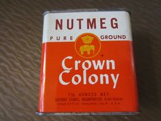 Vintage 1960s Crown Colony Nutmeg Spice Can Metal by kookykitsch, $20.00