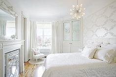 Silver and white bedroom, old Hollywood romance.