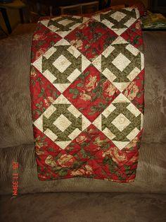 """Shofly quilt.  (Again, an OK """"churn dash"""".)"""
