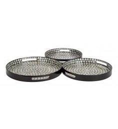 Round Black Inlay Trays - Set of 3