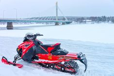 Rovaniemi Finland - Red snowmobile on frozen lake at Candle bridge in winter Rovaniemi Lapland Finland Northern Lights Tours, See The Northern Lights, Budget Travel, Travel Guide, Santa Claus Village, Snowmobile Tours, Finland Travel, Lapland Finland, Countries To Visit