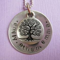 Family Tree Hand Stamped Necklace - Personalized Hand Stamp Jewelry - Celtic Tree Necklace with names on Etsy, $38.00