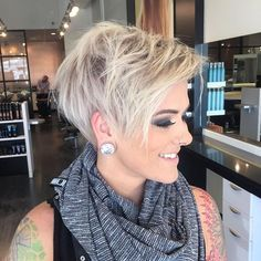 My beautiful friend @lyndee_hairlove_marie let me cut her hair into the cutest platinum pixie! Pretty obsessed . Color by my love @tarynsheaanderson #timeforachange #platinumblonde #pixiecut #jessattrios #triossalonomaha #dowhatyoulove #redkenobsessed #surface #olaplex