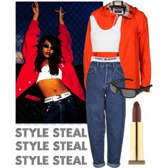 A fashion look from January 2015 featuring Helmut Lang tops, Boutique jeans and Kaenon sunglasses. Browse and shop related looks. Aaliyah Costume, Aaliyah Outfits, Aaliyah Style, 90s Costume, Costumes, Fashion Guys, Hip Hop Fashion, 90s Fashion, Fashion Outfits