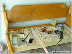simple diy headboard bench tutorial i only made 4 cuts on wood, diy, how to, painted furniture, repurposing upcycling, woodworking projects