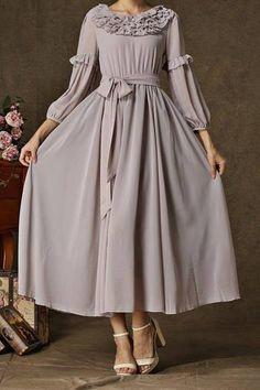Elegant Scoop Neck Solid Color Long Sleeve Maxi Dress For Women Muslim Fashion, Modest Fashion, Hijab Fashion, Fashion Dresses, Maxi Dress With Sleeves, Lolita Dress, Pretty Dresses, Beautiful Outfits, Vintage Dresses