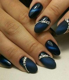 Cobalt Blue Nails With Rhinestones;blue manicure;blue nail d.- Cobalt Blue Nails With Rhinestones;blue manicure;blue nail designs;Blue Gel;Nail Polish;blue nail art;rhinestone nails; - Cobalt Blue Nails, Blue Gel Nails, Nail Art Blue, Acrylic Nails, Dark Blue Nails, Bleu Cobalt, Coffin Nails, Stylish Nails, Trendy Nails