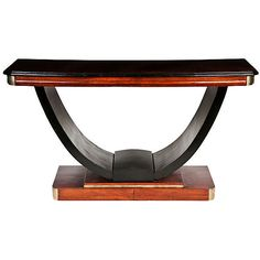 American Art Deco Console ($1,599) ❤ liked on Polyvore featuring home, furniture, tables, accent tables, mahogany table, mahogany end table, mahogany furniture and mahogany side table