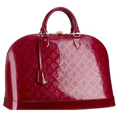Louis Vuitton Alma MM monogram top handle bag ❌ love the doctor's-bag shape & the deep red is amazing