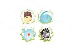 Check out Monkey Zebra Elephant Bird Cartoon by Popmarleo Shop on Creative Market