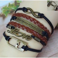 Romantic popular women love lock Wax Cord wrap leather bracelet for lovers.  Style   :   Romantic Material:    Leather Gender:    Girls Fine or Fashion:    Fashion Color:      Black Cuff Links Type:      Cuff Links Chain Type:   Link Chain Bracelets Type   :   Wrap Bracelets Mat...