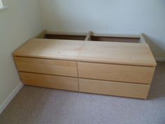 captain single bed from malm dressers-ikea hack Source by owlsanddoes Next Previous Single Bed In Double Bed Single Bed Designs Diy Bed…How to build a bed with Ikea malm dressers. Malm Dresser, Dresser Storage, Ikea Storage, Ikea Malm, Ikea Bed, Single Beds With Storage, Diy Bed Frame, Kid Beds, Bedroom Ideas
