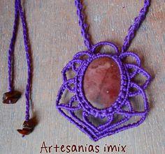 Colgante collar en  macrame  con Jaspe y por Artesaniasimix en Etsy