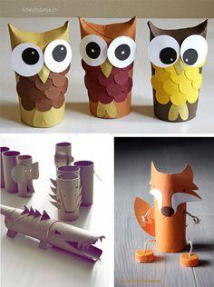 5 juguetes con rollos de cartón. / 5 toys with toilet paper rolls Toilet Roll Craft, Toilet Paper Roll Crafts, Diy For Kids, Crafts For Kids, Arts And Crafts, Rolled Paper Art, Frog Crafts, Animal Crafts, Fall Diy