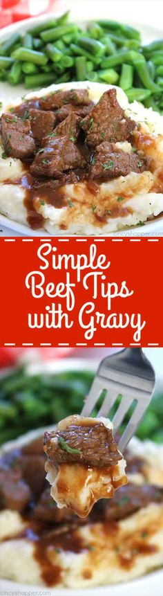 If you are needing a quick and easy meal, these Simple Beef Tips with Gravy will be perfect. Small cuts of beef lathered in gravy. Perfect with or without mushrooms, serve them over mashed potatoes or egg noodles… you choose. Ready in about 30 minutes! Meat Recipes, Crockpot Recipes, Chicken Recipes, Cooking Recipes, Healthy Recipes, Dinner Recipes, Hamburger Recipes, Meatloaf Recipes, Cooking Ideas