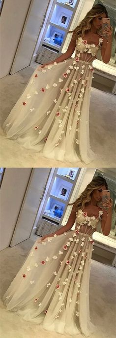 White Prom Dresses,See Through Prom Dress,Sexy Long Tulle Formal Evening Dresses,Flowers Prom Dress,Summer Prom Dress