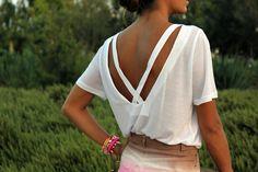 Backless white criss cross shirt