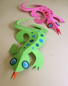 3D Paper Lizard {Craft Camp} - Skip To My Lou Skip To My Lou Jungle Crafts, Vbs Crafts, Fun Crafts For Kids, Summer Crafts, Projects For Kids, Art For Kids, Craft Projects, Arts And Crafts, Safari Crafts