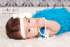Born For Photography: 4 month old baby girl photography with the pearls.