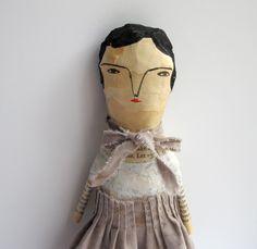 Whisper - a mixed media folk art doll - paper sculpture