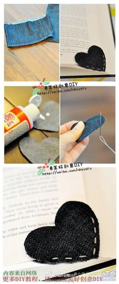 Diy back to school : DIY Simple Cloth Heart Bookmark