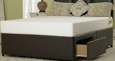 Divan Beds Centre - Double Divan Bed Base only in Brown Faux Leather Single Divan Beds, Double Divan Bed, Bed Base, Colours, Card Crafts, Storage, Brown, Leather, Houses