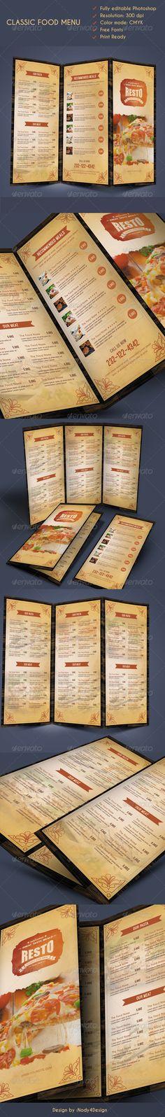 Classic Food Menu Template #design #speisekarte Download: http://graphicriver.net/item/classic-food-menu/8416794?ref=ksioks