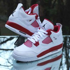 TheAir Jordan IV made its initialdebut in 1989 and was instantly praised for its unique design. TheAir Jordan Alternate collection imagined a series of early Air Jordan sneakers asPlayer Exclusive colorways. Jordan Retro 4 Red, Nike Air Jordan Retro, Red And White Jordans, Jordan Shoes Girls, Air Jordan Sneakers, Aesthetic Shoes, Hype Shoes, Fresh Shoes, Retro Sneakers