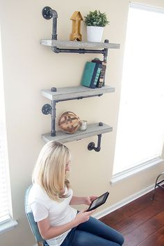 Industrial Chic Concrete and Pipe Shelves Tutorial
