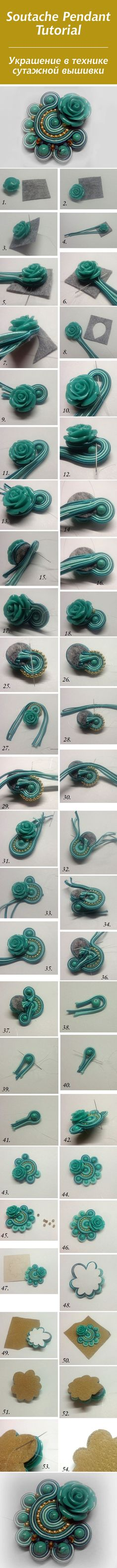 Делаем украшение в технике сутажной вышивкой
