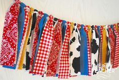 Got a hankering for a farm party? My fabric tie bunting provides just the touch of barnyard charm to your party and coordinates with any farm party printables or other decoration. My garlands are very Cowboy Birthday, Cowboy Party, Farm Birthday, 2nd Birthday Parties, Birthday Party Decorations, Barn Dance Decorations, Birthday Ideas, Barn Parties, Western Parties