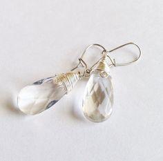 Clear Crystal Teardrop Earrings with Silver by ButterflyWarriors, $16.00