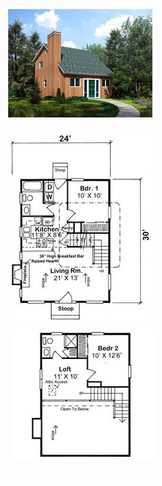 House Plan 10751 - Cabin, Contemporary Style House Plan with 990 Sq Ft, 2 Bed, 2 Bath Little House Plans, Best House Plans, Contemporary Style Homes, Contemporary House Plans, Craftsman Floor Plans, I Love House, Apartment Layout, Tiny House Living, Living Area