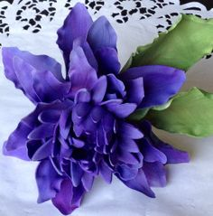 Gum Paste Purple Dalhia Flower WITHOUT LEAVES by SweetIdeaFlowers, $35.00
