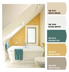 Paint colors from Chip It! by Sherwin-Williams - mustard and teal
