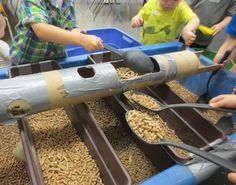 "Cardboard tubes & trays from Tom Bedard ("",) Sand Tray, Water Tray, Water Tables, Sand And Water Table, Sensory Tubs, Sensory Play, Montessori, Baby Sensory Board, Tuff Tray"
