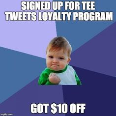 Have you signed up for Tee Rewards? Get 100pts just for signing up, and another 200 for referring a friend! Redeem them for #FreeShipping, $5 off, $10 off, surprise #giveaways, and more! Join at 👉 TeeTweets.com 👈  and get to racking up points! 🤑