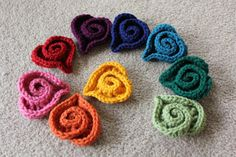 Crocheted Spiral Swirl HEARTS - any color - choose color - acrylic or wool