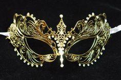 Laser Cut Metal Venetian Mask Masquerade Rhinestone White Gold Wedding Bride New