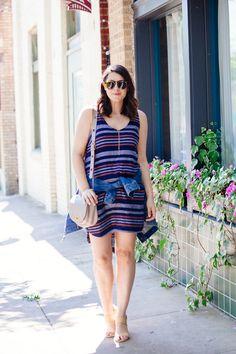 Striped simple sheath tank dress