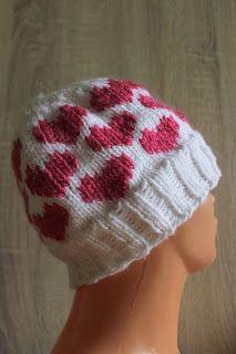 Walentynki, serca, Valentine's Day hearts, knitting, czapka, druty, hat, beanie, handmade by Kassy