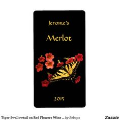 Tiger Swallowtail on Red Flowers Wine Label