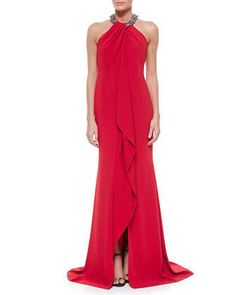 Beaded-Neck Toga Gown, Red by Carmen Marc Valvo at Neiman Marcus.